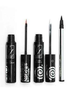 Промо-набор  декоративной косметики YZ(подводка для глаз 2 шт +сыворотка роста ресниц) ИЛЛОЗУР. Цвет: черный, белый, прозрачный