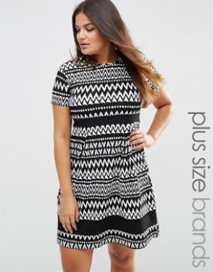 Praslin Короткое приталенное платье с черно-белым принтом Plus. Цвет: черный