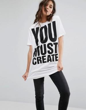 YMC Длинная футболка с принтом You Must Create. Цвет: белый