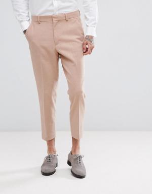 ASOS Светло-розовые зауженные брюки Wedding. Цвет: розовый