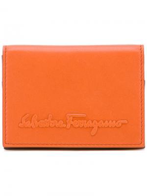 Бумажник с логотипом Salvatore Ferragamo. Цвет: жёлтый и оранжевый