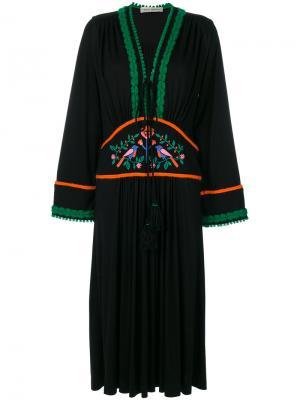 Платье с длинными рукавами и вышивкой Veronique Branquinho. Цвет: чёрный