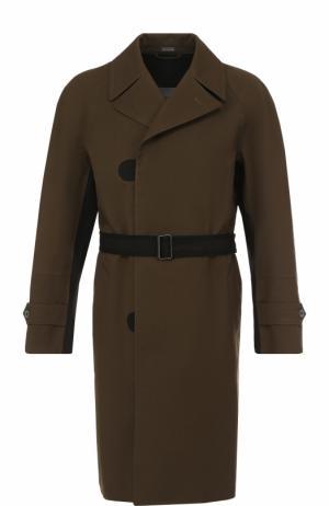Однобортное хлопковое пальто с поясом Lanvin. Цвет: хаки