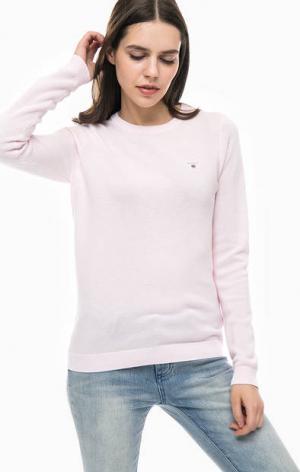 Хлопковый джемпер розового цвета Gant. Цвет: розовый