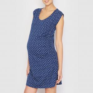 Ночная сорочка с рисунком для периода беременности COCOON. Цвет: синий/наб. рисунок