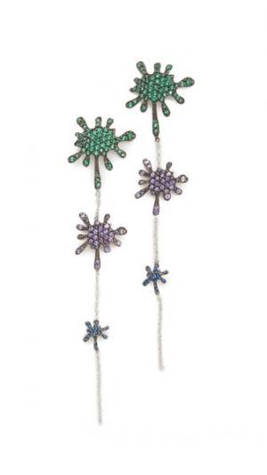 Длинные серьги-капли Splatter Joanna Laura Constantine. Цвет: зеленый/фиолетовый/синий