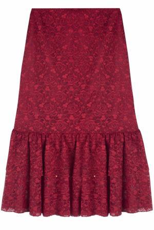 Кружевная юбка (90-е) Guy Laroche Vintage. Цвет: темно-красный