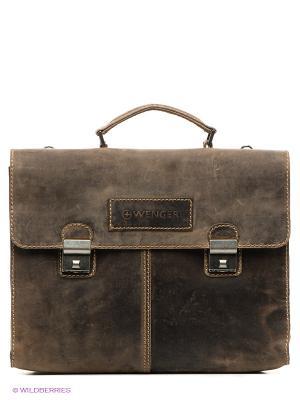 Портфель WENGER. Цвет: коричневый
