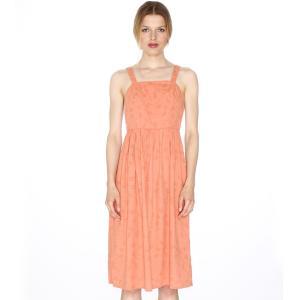 Платье на бретелях, отрезное по спинке, застежка сбоку PEPALOVES. Цвет: персиковый