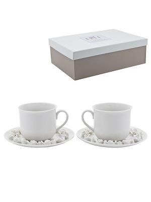 Набор из 2-х чайных чашек с блюдцем Italy Design Elff Ceramics. Цвет: белый