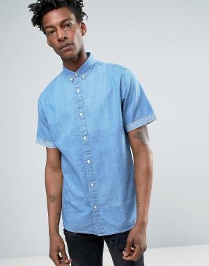 Troy Джинсовая рубашка с короткими рукавами. Цвет: синий