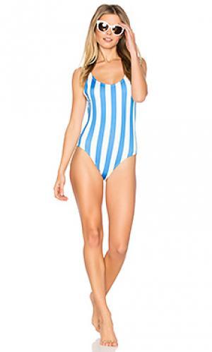 Слитный купальник the anne marie Solid & Striped. Цвет: синий
