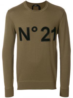 Джемпер с заплаткой логотипом Nº21. Цвет: коричневый