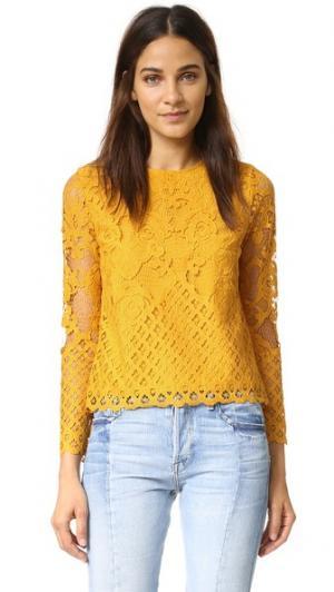 Кружевная блуза ENGLISH FACTORY. Цвет: календула