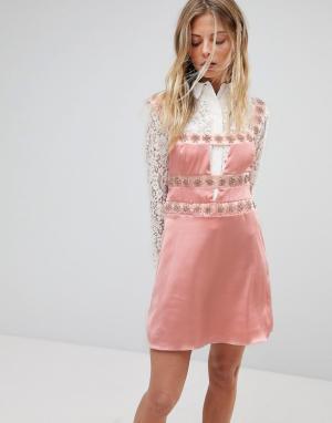 For Love And Lemons Декорированное платье мини. Цвет: розовый