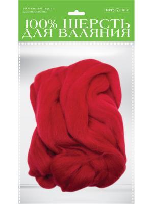 Шерсть для валяния полутонкая (гребенная лента), вишневая, 50 гр. Альт. Цвет: красный
