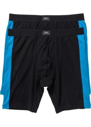 Длинные боксеры-брифы (2 шт.) (черный/капри-синий) bonprix. Цвет: черный/капри-синий