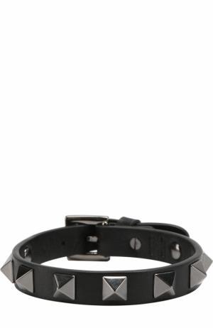 Кожаный браслет Rockstud Valentino. Цвет: черный