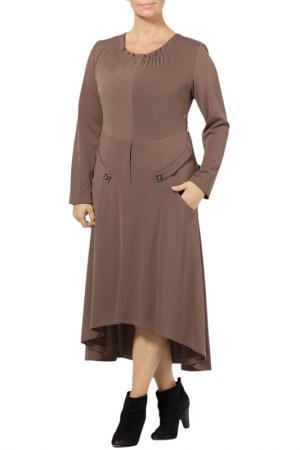 Платье Zedd Plus. Цвет: бежевый