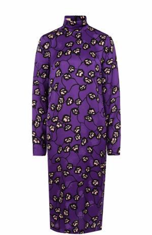 Платье-миди прямого кроя с цветочным принтом Marni. Цвет: фиолетовый