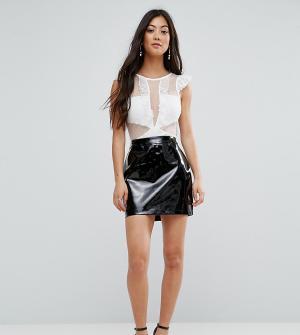Fashion Union Petite Облегающая виниловая юбка. Цвет: черный