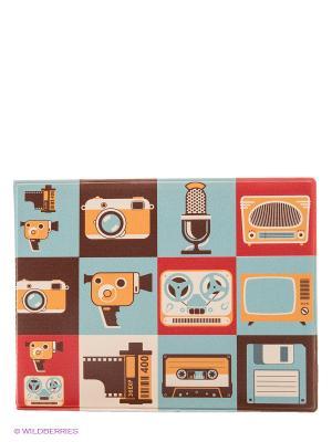 Обложка на студенческий Ретро Kawaii Factory. Цвет: голубой, красный, коричневый