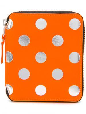 Кошелек на молнии в горох Comme Des Garçons Wallet. Цвет: жёлтый и оранжевый