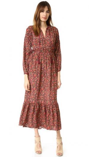 Шелковое платье с цветочным принтом в стиле хиппи The Kooples. Цвет: красный