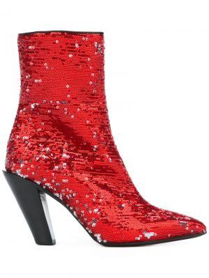 Ботинки с пайетками A.F.Vandevorst. Цвет: красный
