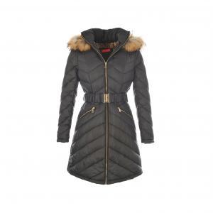 Куртка стеганая длинная с капюшоном на молнии RENE DERHY. Цвет: черный
