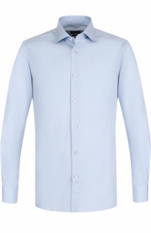 Хлопковая сорочка с воротником кент Ermenegildo Zegna. Цвет: светло-голубой
