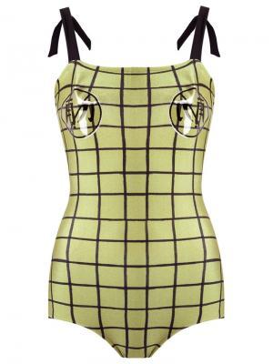 Grid swimsuit Adriana Degreas. Цвет: зелёный