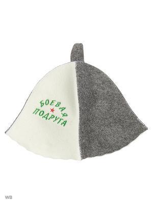 Шапка для бани с вышивкой в косметичке Боевая подруга Метиз. Цвет: белый, серый