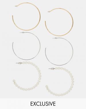 Designsix Набор серег-колец из металла и искусственного жемчуга. Цвет: мульти