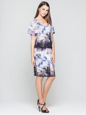 Платье Elena Shipilova. Цвет: сиреневый, белый, темно-серый