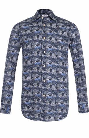 Хлопковая рубашка с принтом Kiton. Цвет: темно-синий