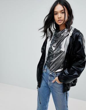 BLANK NYC Двусторонняя непромокаемая куртка на серебристой подкладке. Цвет: черный