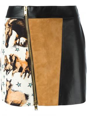Мини юбка со смещенной молнией Fausto Puglisi. Цвет: чёрный