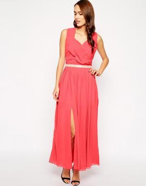 VLabel London Платье макси с разрезом Camden. Цвет: розовый