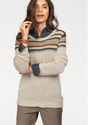 Пуловер BOYSENS BOYSEN'S. Цвет: бежевый/синий