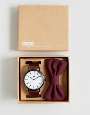 ASOS Набор из часов и галстука-бабочки бордового цвета Wedding. Цвет: коричневый