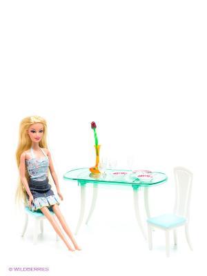 Набор мебели для кукол 1Toy. Цвет: голубой