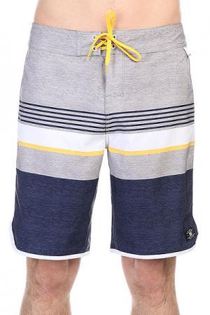 Шорты пляжные DC Battery Park Indigo Shoes. Цвет: синий,серый,белый,желтый