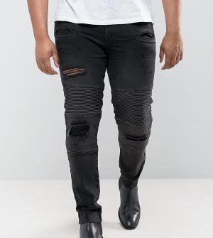 ASOS Суперузкие джинсы в байкерском стиле с рваной отделкой PLUS. Цвет: черный