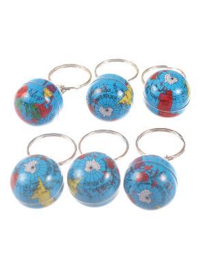 Брелок Глобус, набор 6 шт Радужки. Цвет: голубой