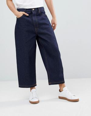ASOS Широкие укороченные джинсы DESIGN. Цвет: синий