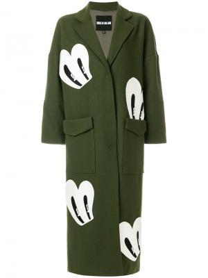 Пальто с нашивками House Of Holland. Цвет: зелёный