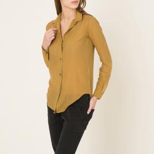 Блузка из шелка и хлопка POMANDERE. Цвет: горчичный