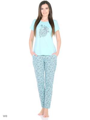 Комплект домашней одежды ( футболка, брюки) HomeLike. Цвет: светло-голубой