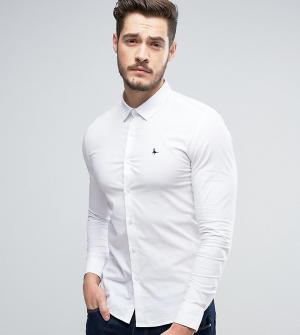 Jack Wills Белая эластичная рубашка скинни из поплина. Цвет: белый